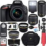 Nikon D5600 24.2MP DSLR Camera with 18-55mm VR and 70-300mm Dual Lens (Black) - (2 Lens Value Kit 18-55mm VR & 70-300mm) - (Certified Refurbished)