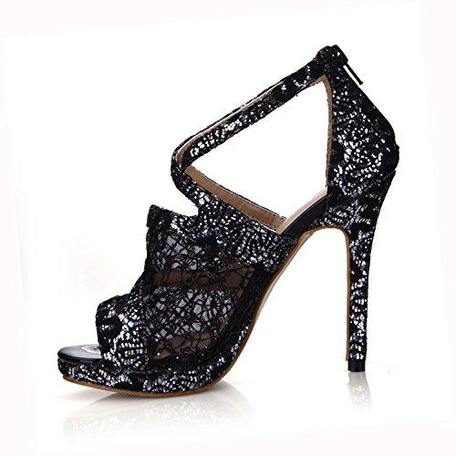 Sandals Best Women's 4u Net Shoes Pumps Summer Lace Sole Basic Breathable Rubber Color Black Spring 12cm Solid High Heels Zipper 0n0Rqxr