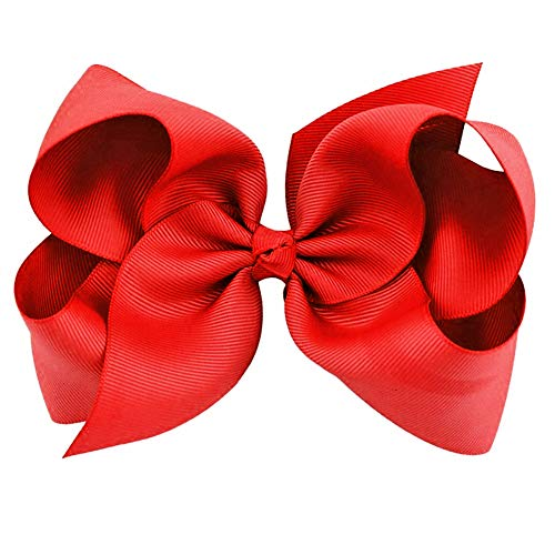 Red Grosgrain Bow Clip - Extra Large Bows with Alligator Clips by CoverYourHair
