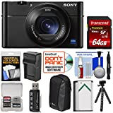 Sony Cyber-Shot DSC-RX100 V A 4K Wi-Fi Digital Camera 64GB Card + Case + Battery & Charger + Flex Tripod + Kit