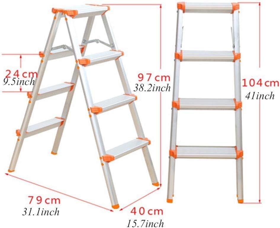 Escalera fuerte, estructura de aluminio ligero plegable antideslizante portátil pies ideal para el garaje de cocina en casa (Size : 4 Step): Amazon.es: Bricolaje y herramientas