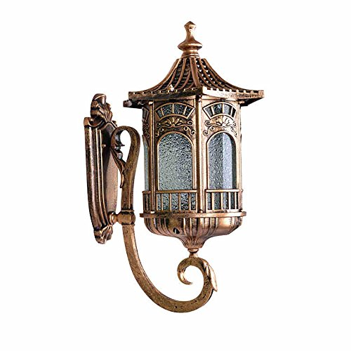 Wall Lamp Outdoor Gate Light Waterproof Garden Lamp Villa Exterior Door Creative Craft Wall Lamp Retro Lighting Balcony (Tile Bronze Lantern)