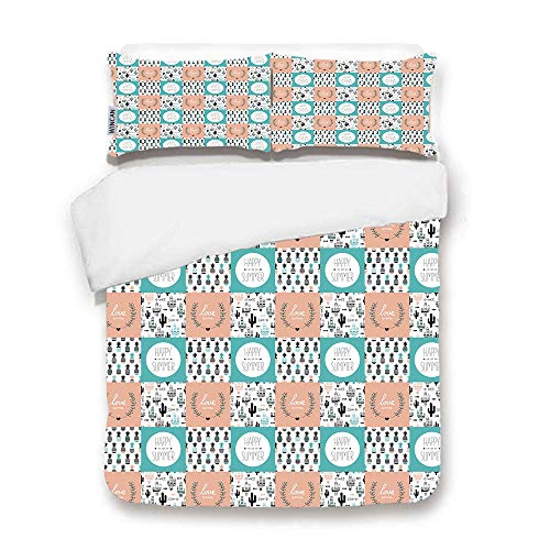 WINCAN Premium Black Duvet Cover Set,Pineapples and Cactus Arrows and Summer Love Indian Summer Postcard Cover Design Template in ve3 Pcs Bedding Set 2 Pillow Shams