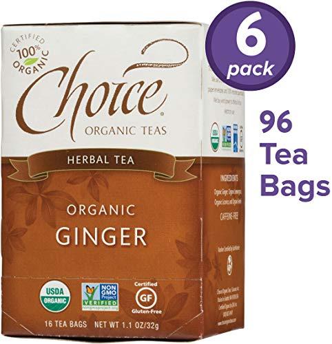 Choice Organic Teas Herbal Tea, 6 Boxes of 16 (96 Tea Bags), Ginger, Caffeine Free