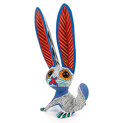 WHITE RABBIT Oaxacan Alebrije Wood Carving Handcrafted Fine Mexican Folk Art Animal Sculpture Painting by Arsenio (Folk Art Sculpture)