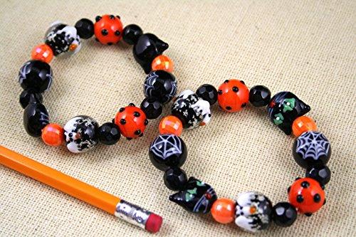 Halloween Stretch Bracelet (Handmade Lampwork Glass Beads + Plastic Beads;HW16)