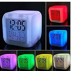 SAYGOGO Colorful Color Alarm Clock Creative Square Clock LED Mute Luminous Small Alarm Clock Electronic Clock Wholesale