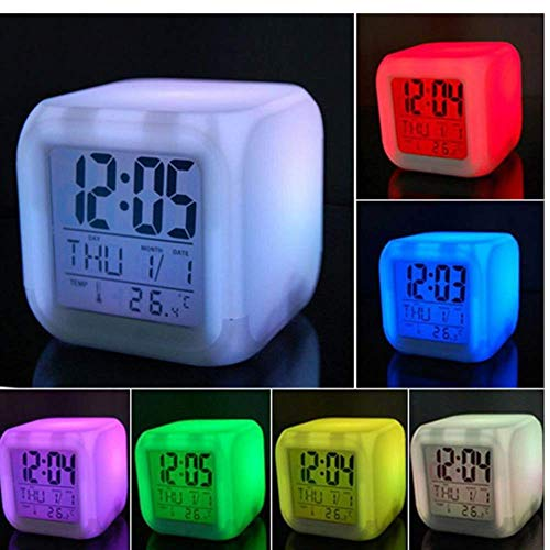 - LOAZRE Colorful Color Alarm Clock Creative Square Clock LED Mute Luminous Small Alarm Clock Electronic Clock Wholesale