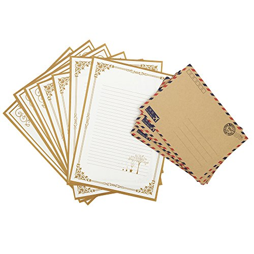 (QingLanJian Vintage Kraft Paper Writing Paper with Envelopes Stationary Sets-48 Sheets and 30 AirMail Envelopes,White)