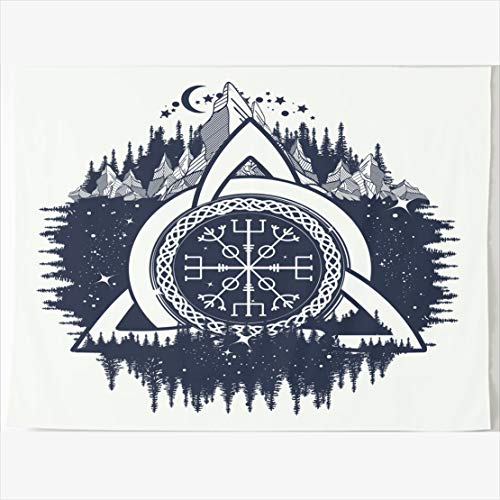 - AlliuCoo Tapestry Home Decor 60 x 50 Inches Pagan Celtic Trinity Knot Helm Runes Awe Aegishjalmur Parks Outdoor Viking Mascot Tapestries Wall Hangings Art for Bedroom Living Room Dorm