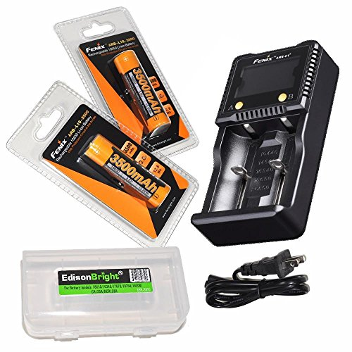 Fenix ARE-C1+ Plus smart battery charger, 2 X Fenix ARB-L-18 3500mAh Protected 18650 Rechargeable Li-ion Batteries with EdisonBright BBX3 battery carry case