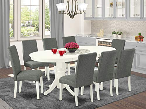 9 Pc Kitchen Set For 8 Dining Table With Leaf And Eight Parson Chair With Linen White Finish Leg And Linen Fabric- Gray Color