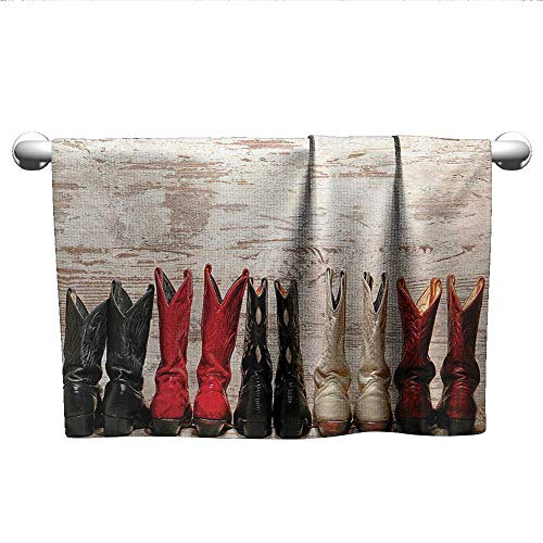 (alisoso Western,Tea Towel American Legend Cowgirl Leather Boots Rustic Wild West Theme Cultural Print Microfiber Towels for Body Beige Red Black W 14