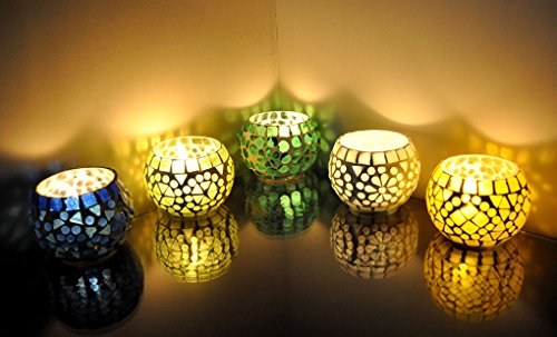 Stained Glass Christmas Candles - Lalhaveli Mosaic Glass Round Candle Votive Holder 5 Pcs Set