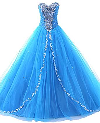 JAEDEN Wedding Sweetheart Long Quinceanera Dresses Formal Prom Dresses Ball Gown Blue US2