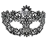 AoLice Black Metal Filigree Laser Cut Mask Masquerade Fancy Ball Mask Party Halloween