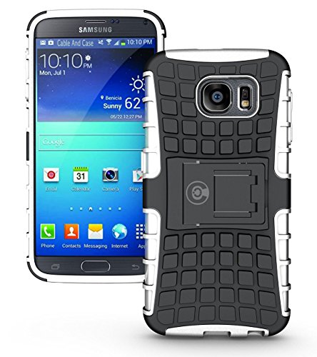 Galaxy s6 Case, Phone Case Galaxy S6 by Cable And Case | Galaxy s6 Armor Cases | Cute Galaxy s6 case SIV [SM-G920F] - Soft/Hard Shell 2 in 1 Tough Galaxy s6 Protective Case Cover Skin - White S6 Case