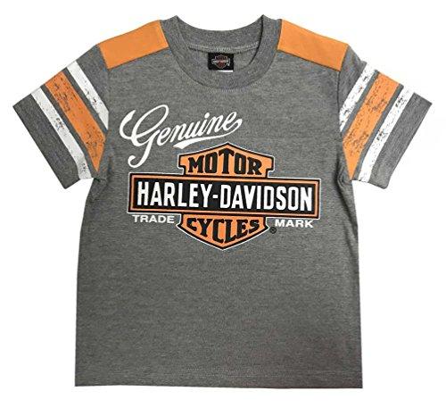 Shirt Genuine Boys (Harley-Davidson Little Boys' Genuine Short Sleeve Jersey Tee, Gray 1072827 (4T))