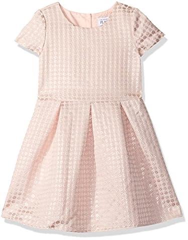 The Children's Place Little Girls and Toddler Short Sleeve Jacquard Dress, Pink, 2T - Together Short Sleeve Dress