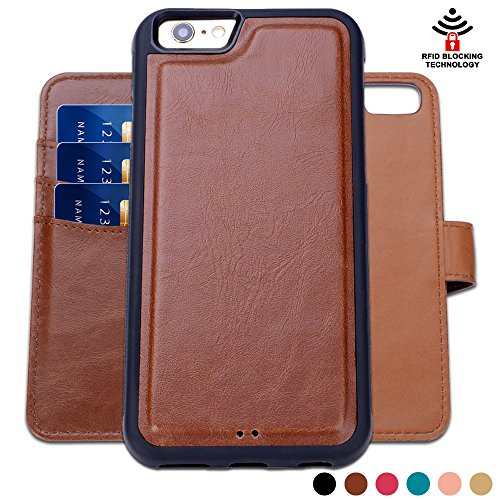 SHANSHUI Wallet Case Compatible with iPhone 6 Plus/6s Plus 5.5'', Premium PU Leather RFID Blocking Magnetic Smart Folio Case Flip Stand Cover with Card Slots Cash Pocket (Brown-RFID 5.5'') (Iphone 6 Plus Card Reader)