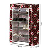 Kurtzy 4 Layer Shoe Cabinet Rack Light Weight Foldable Shelves Storage Organizer For Home and Office 57X27X70cm