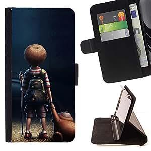 Momo Phone Case / Flip Funda de Cuero Case Cover - Historieta del ni?o del muchacho del oso de peluche Arte Amistad - Sony Xperia M5