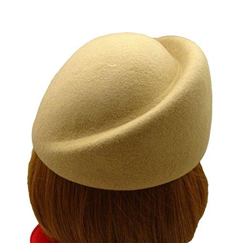 HATsanity Women's Vendimia Textura de lana Suave Mitad Sombrerería Pillbox Beige