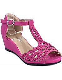 Blaze04 Kids Rhinestone Peep Toe Cut Out Ankle Strap Wedge Dress Sandal Shoes