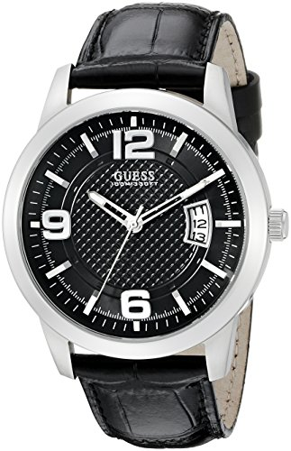 GUESS Men's U0494G6 Sporty Silver-Tone Stainless Steel Multi-Function Watch with Date Dial and Genuine Leather Strap Buckle