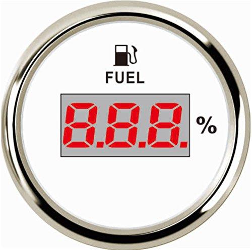 Samdo Universal 52mm Digital Fuel Level Gauge Meter 240-33ohm Signal Red Backlight 12V/24V ()
