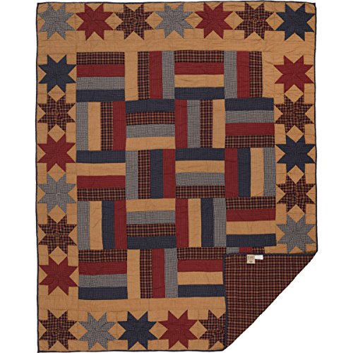 VHC Brands Primitive Bedding National Museum Kindred Stars and Bars Quilt, Twin, Tan