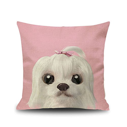 YOUR SMILE Maltese Dog Square Cotton Linen Decorative Throw Pillow Case Cushion Cover Pillowcase for Sofa 18 x 18 Inch Pink