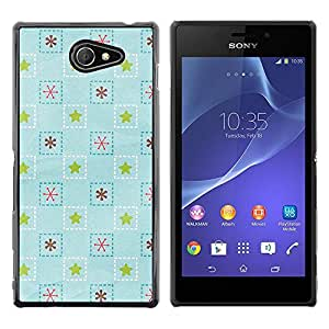 MOBMART Carcasa Funda Case Cover Armor Shell PARA Sony Xperia M2 - Ice Blue Star Patterns