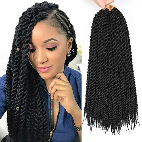 6 Packs 18 Inch Havana Mambo Twist Hair Synthetic Crochet Braids Black Color Senegalese Twist Crochet Hair (18 Inch, 1B)