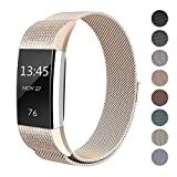 SWEES Milanese Loop Bands Compatible Fitbit Charge 2, Stainless Steel Metal Magnetic Closure Clasp Wristband Strap Replacement Fitbit Charge 2 Fitness Tracker Small Women,Black, Rose Gold, Silver