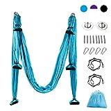 CO-Z Hamaca de Yoga Correa de Pilate Sling Aerial Banda de Nailon Tafetán Columpio de Oscilación Fitness Antigravedad (Azul)