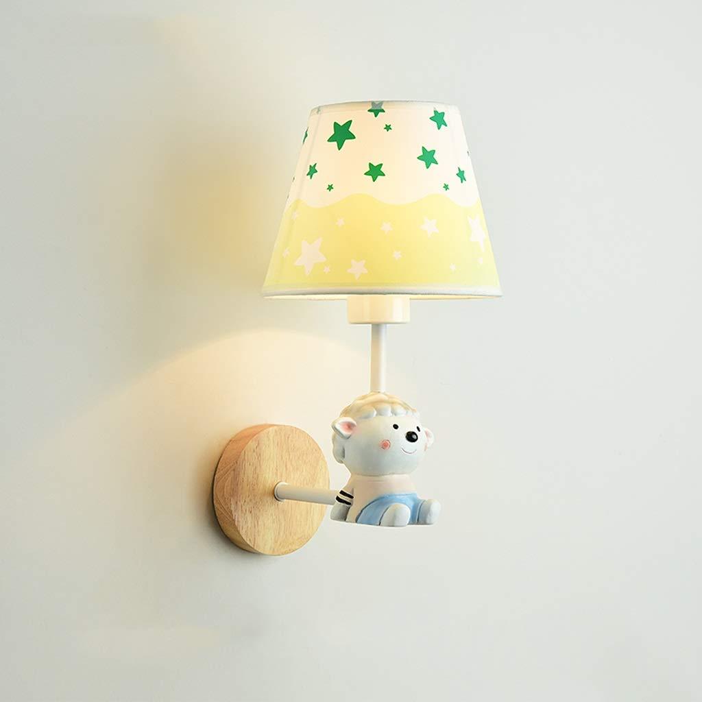 子供の部屋の壁ランプかわいい動物の漫画のベッドルームのベッドサイドランプ男の子と女の子ノルディックシンプルオリジナルソリッドウッド樹脂人形人形壁ランプ (サイズ さいず : 501) 501  B07KNJX7CQ