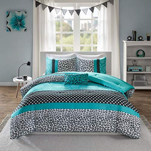 Cheetah Print Comforter - 4 Piece Multi Teal Cheetah Print Comforter Queen Set, Beautiful Damask Themed Bedding, Stripe Patterned Design, Adorable Polka Dots Print, Elegant Contemporary Style, Vibrant Blue Black White
