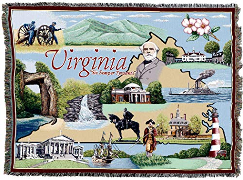 Pure Country Weavers   Virginia 2 Woven Tapestry Throw Blanket Cotton 72x54 Cotton USA