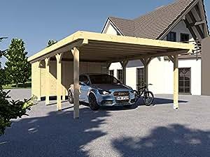 CarPort tejado plano Avus XII–500x 800cm con dispositivo habitación Kvh montar construcción Completo Madera abeto