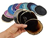 4 (FOUR) Agate Coaster - Agate Slice Coasters Rock Paradise COA (DarkBrnBlkGold)