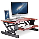 Standing Desk, Little Tree 32in Height Adjustable Stand Up Desk Riser with Wide Keyboard Tray, Sit to Stand Converter, 2 Tier, Gas Spring Hovering System for Dual Monitor (32in, CherryFinish)