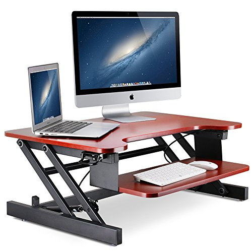 LITTLE TREE 32in Standing Desk, MDF Height Adjustable Stand Up Desk Riser with Wide Keyboard Tray,Gas Spring Hovering System for Dual Monitor (32in/Cherry Finish) by Little Tree