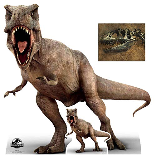 Tyrannosaurus Rex Official Jurassic World Cardboard Cutout/Standup Fan Pack, 100cm x 98cm Includes Free Mini Cutout and 8x10 Photo
