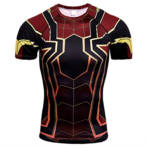 Spider Short Sleeve Tees - HIMIC E77C Super Hero Quick-Drying Elastic Sport Running T-Shirt (Medium, Spider Short Sleeve 2)