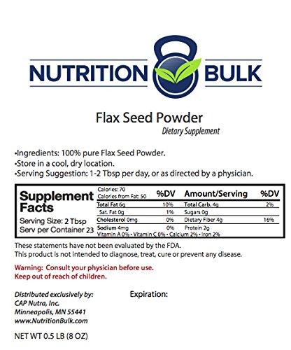 UPC 608729336198, Nutrition Bulk Flax Seed Powder, Natural Fiber, Omega-3, Resealable Bag, No Fillers (8oz)