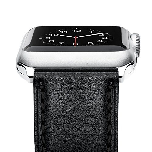 - Benuo Watch Band for Apple Watch Series 4, 40mm 38mm Premium Genuine Leather Strap Classic Replacement Band with Secure Buckle Adapter Compatible iWatch Series 4 3 2 1 (Black)