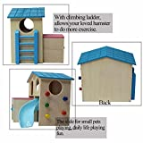 kathson Pet Small Animal Hideout Hamster House with Funny Climbing Ladder Slide Wooden Hut Play Toys Chews for Small Animals Like Dwarf Hamster and