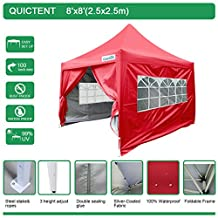 Big Sales!Quictent New 8' x 8' Heavy Duty Pyramid Pop Up Gazebo Canopy Tent Red