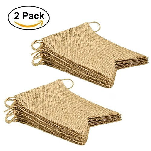 30PCS DIY Vintage Burlap Banner Flags Blank for Birthday Wedding Baby Shower Party Decoration (14.5 feet, 2 Pack)